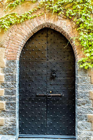antique: An old door, element of Italian architecture Stock Photo