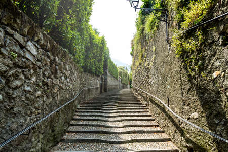 An old stairs in Menaggio. Province Como. Italy