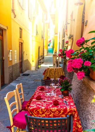 Italian street restaurant. Stock Photo