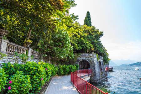 Embankment of Varenna on lake Como, Italy travel Stock Photo