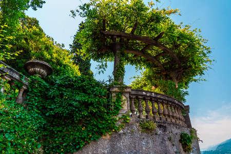 Italian architecture elements, garden on lake Como, Italy Stock Photo