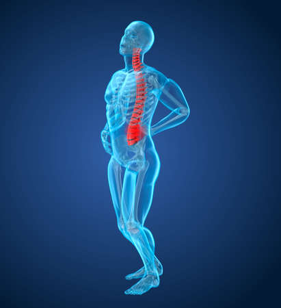 Spinal pain Attack, man suffering from spinal pain. 3D illustration
