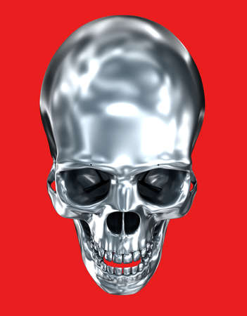 Metallic human skull over black , 3D illustration Stock Photo