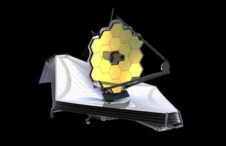 El telescopio espacial James Webb (JWST o Webb), ilustración 3d. Foto de archivo