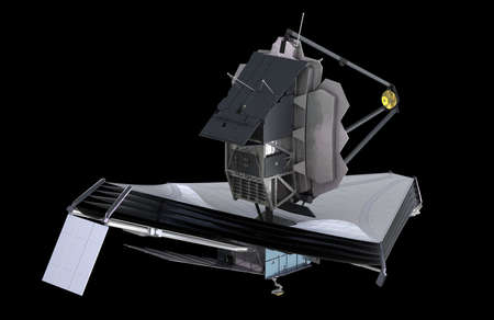 The James Webb Space Telescope (JWST or Webb), 3d illustration Stock Photo