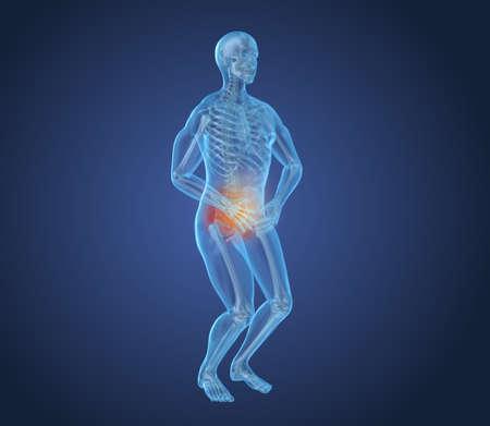 Man feeling pain in stomach, 3D illustration