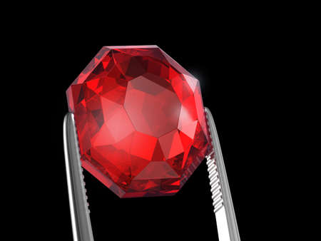 Ruby Seen close up with tweezers, 3D illustration