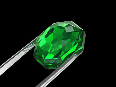 Emerald Seen close up with tweezers, 3D illustration