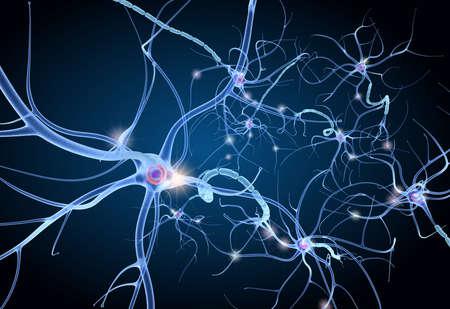 Anatomía de las células nerviosas en detalles. Ilustración 3D