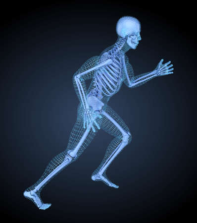 Running man, 3D mesh other skeleton model. 3D illustration concept