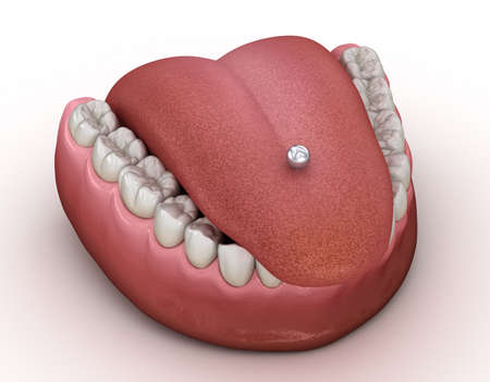 Tongue piercing. 3D illustration concept Reklamní fotografie