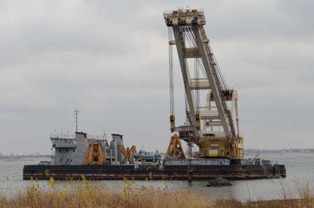 dredging: Dredger ship on the river