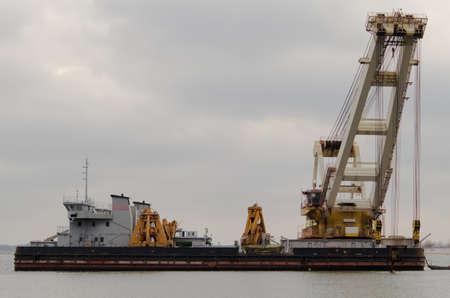 bagger: Dredger ship on the river