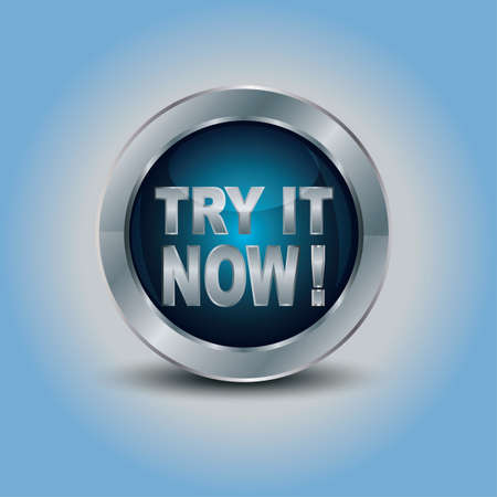 try: Try it now, blue, round glossy button  Illustration