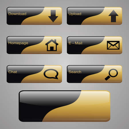 Set of web buttons in black and gold color  Vector