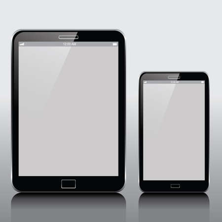 Pc tablet and smartphone isolated on a bright surface  Vector