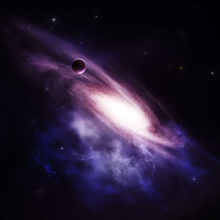 outer:  Purple galaxy with planet, deep in space  Stock Photo