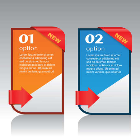 Modern info-graphic banners with red arrow ribbon, vector illustration  Vector