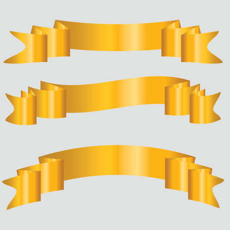 Set of three bent gold ribbon banner, vector illustration  Stock Vector - 23847801