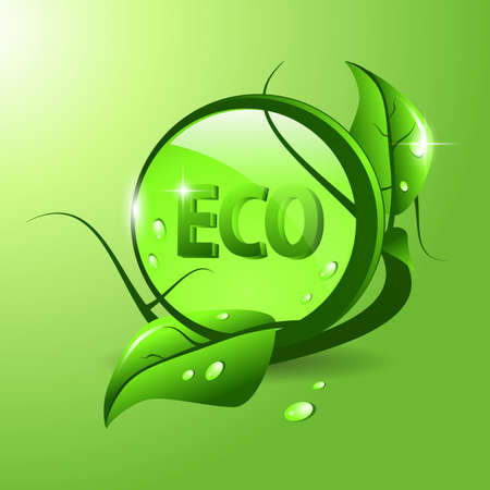 Environment eco icon with leaf and water drops  Vector
