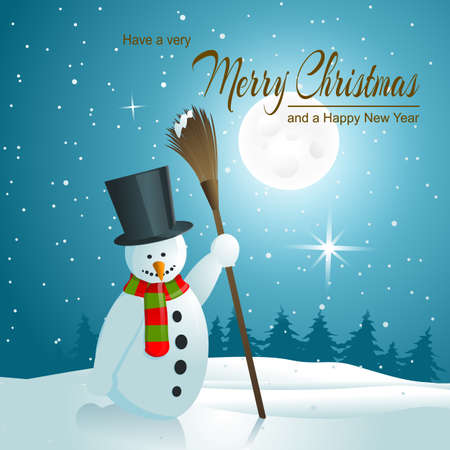 Holiday greeting card, snowman background  Vector