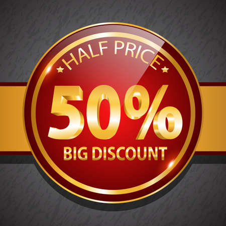 Round glossy promotional discount icon design  Vector