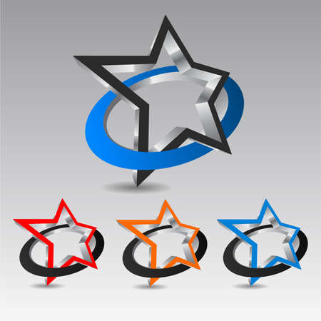 wrapped corner: Star icon wrapped with circle, vector illustration