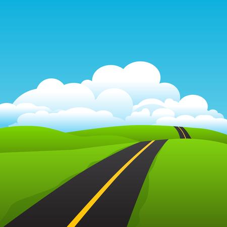Asphalt road over the county land, vector illustration