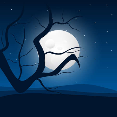 dry land: Night landscape illustration, moon and tree  Illustration