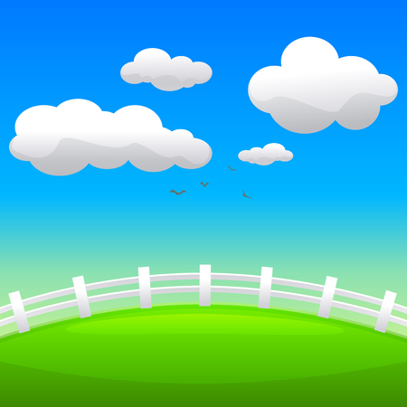 puffy:  The green hill with fence, season vector illustration