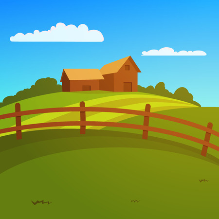 Landscape with farm and fence, vector illustration  Stock Illustratie