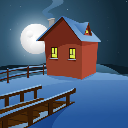 Winter landscape cartoon illustration with house  Vector