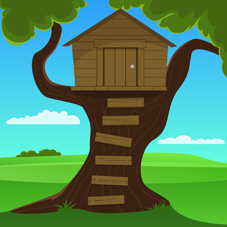 Small house on the tree, cartoon vector illustration  Illustration