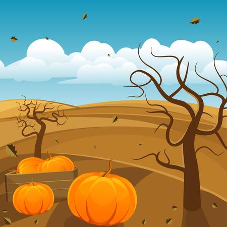 Season autumn landscape background, vector illustration  Vector
