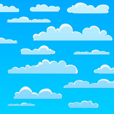puffy: Seamless pattern cartoon clouds, vector illustration