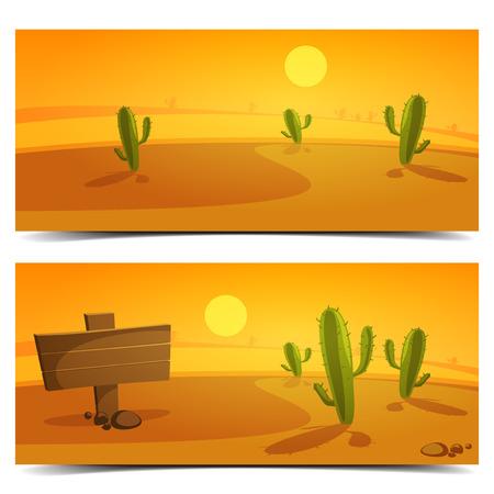 cactus desert: Cartoon woestijnlandschap banner ontwerp