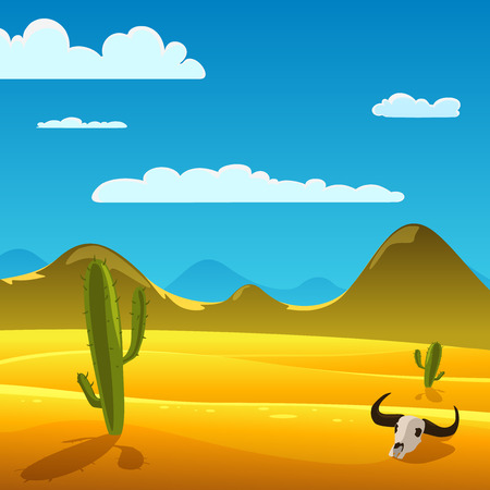 Desert cartoon landscape with cow skull and cactus