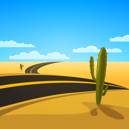 A Desert Landscape with Road, cartoon vector illustration  Vector