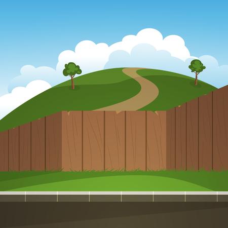 hillock: La colina rodeada con valla de madera, ilustraci�n paisaje