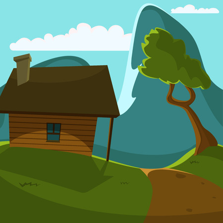 country life: Cartoon illustration of cabin on the mountain
