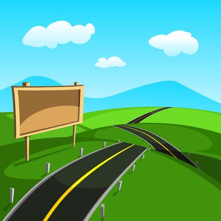 Cartoon landscape road in the summer, vector illustration