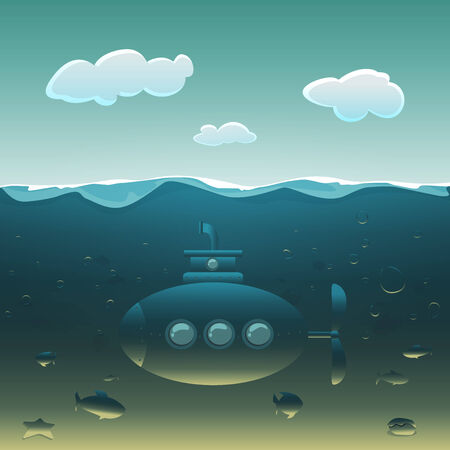 periscope: Cartoon submarine under water surrounded by fish  Illustration