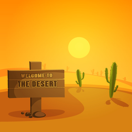 Desert landscape with wooden board and cactus