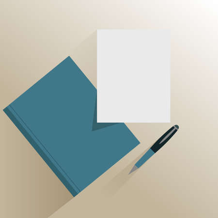work book: Book and blank white paper with pencil isolated on bright surface