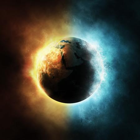 planeten: Der Planet Erde, umgeben von Feuer-und Wasserelemente