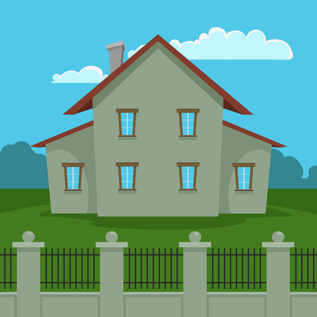 Cartoon house illustration with fence