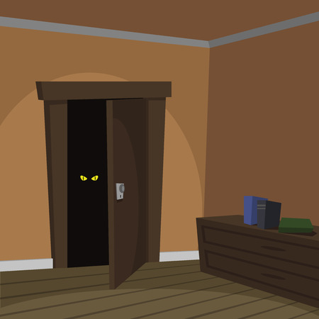 Cartoon illustration of the door with eyes in the dark  Vector