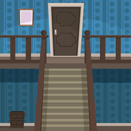 upstairs: The blue room with doors and stairs  Illustration