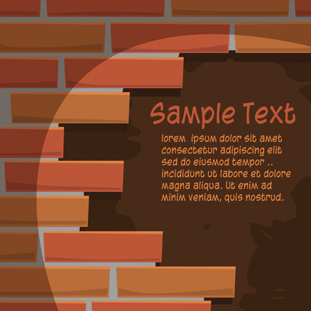Hole in the brick wall Cartoon illustration  Vector