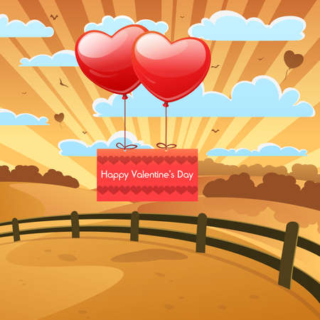Cartoon landscape with heart balloons, Valentines greeting card design  Vector